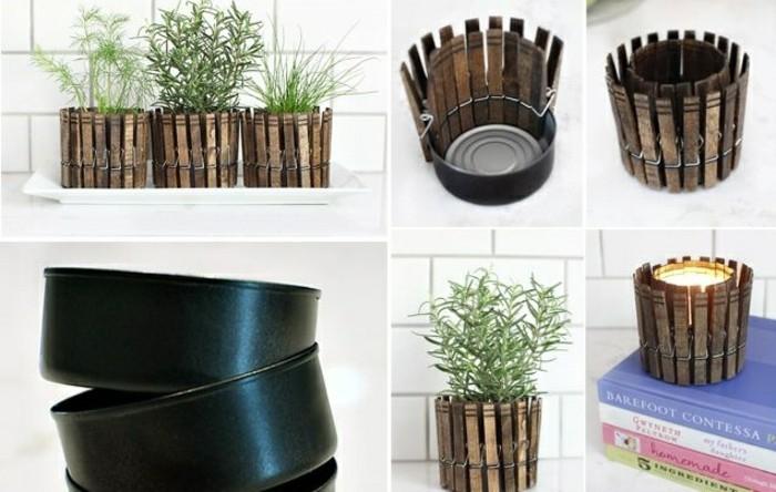 basteln-mit-konservendosen-schwarze-dosen-klammer-blumentoepfe-gruene-pflanzen-buecher