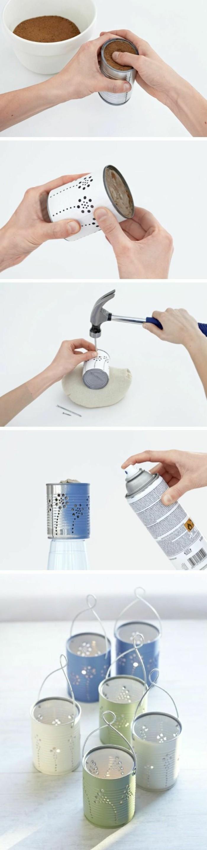 basteln-mit-konservendosen-spray-flasche-kerzenhalter-selber-machen-hammer