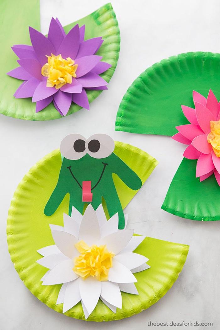 Kinder basteln mit Papptellern, Frosch und Wasserlilie aus Karton schneiden
