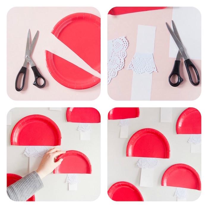 Pilze basteln mit Papptellern, basteln mit Papier und Schere, Anleitung in vier Schritten