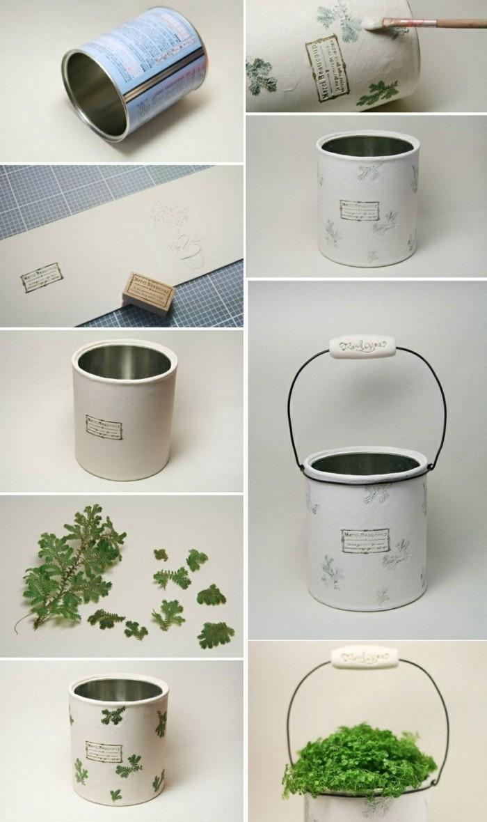 coole-sachen-basteln-blumentopf-aus-dosen-gruene-pflanze-diy-weisse-farbe