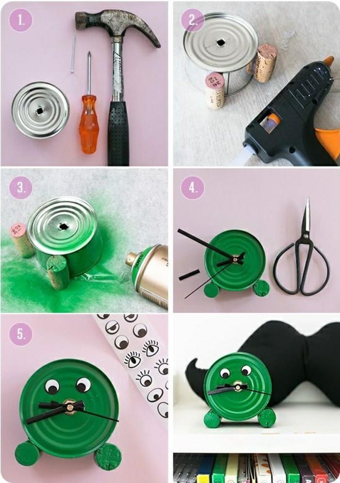 coole-sachen-basteln-dose-hammer-uhr-schere-gruener-spray-weinkork-nagel