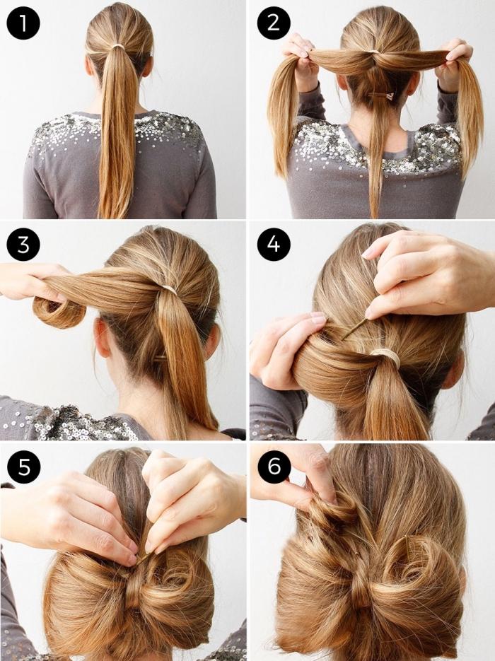 einfache hochsteckfrisuren für lange haare, schleife binden, festliche frisuren, tutorial in bildern
