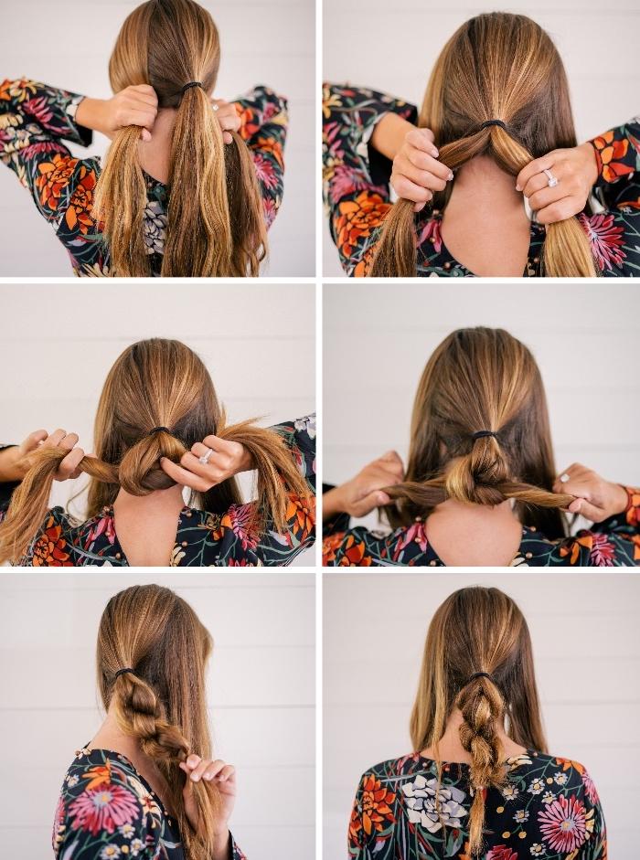 einfache hochsteckfrisuren, pferdeschwanz binden, haare flechten, frisur in boho stil, frisuren für mittellanges haar zum selber machen