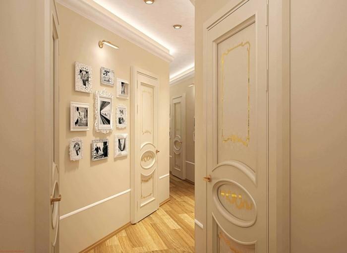 einrichtungsideen-schmaler-flur-weiße-wände-bilderrahmen