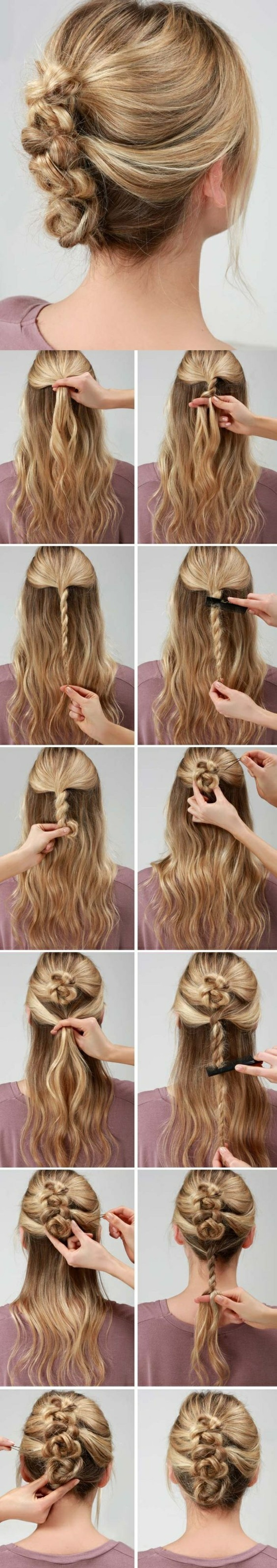 festliche-frisuren-zopf-binden-lange-lockige-haare-lila-bluse-diy-frau-hochsteck