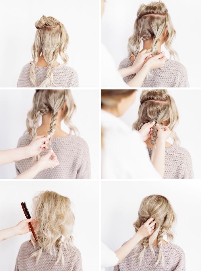 frisuren halblang, zöpfe flechten, flechtfrisur selber machen, haare toupieren, lockere hochsteckfrisur, leichte Haarfrisuren