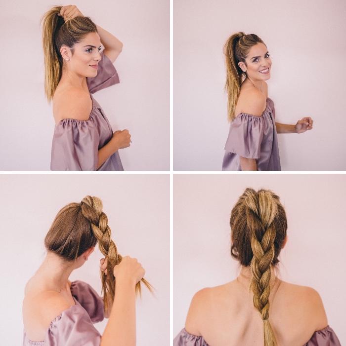 weiße lila bluse, lockerer zopf flechten, frisuren lange haare, schnelle alltagsfrisuren,