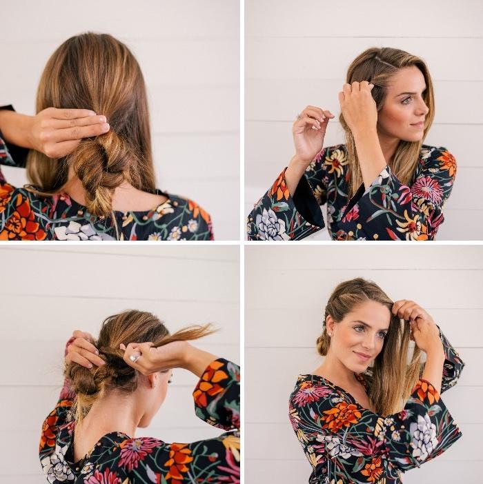 frisuren lange haare, einfache flechtfrisur, geflochtener dutt machen, schritt für schritt