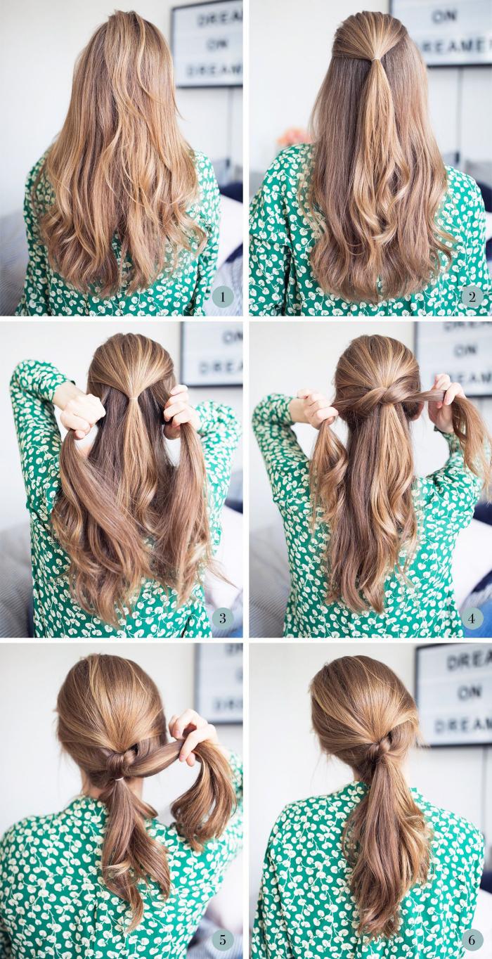 frisuren mittellanges haar, tiefer pferdeschwanz binden, schnelle alltagsfrisur, weites grünes hemd
