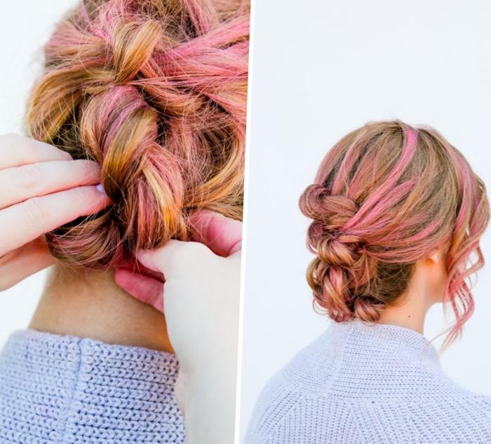 frsiuren mittelang, rosa strähne, einfache flechtfrisur, haare flechten, lockere hochsteckfrsiur