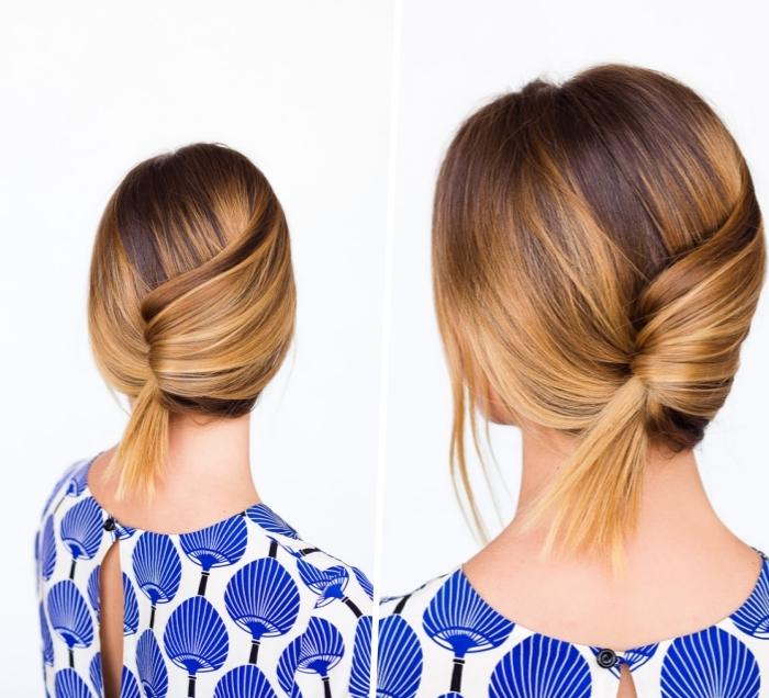 frisuren mittellang zum selbermachen, haare hochstecken, balayage blond, schnelle alltagsfrisur, einfache frisuren frauen