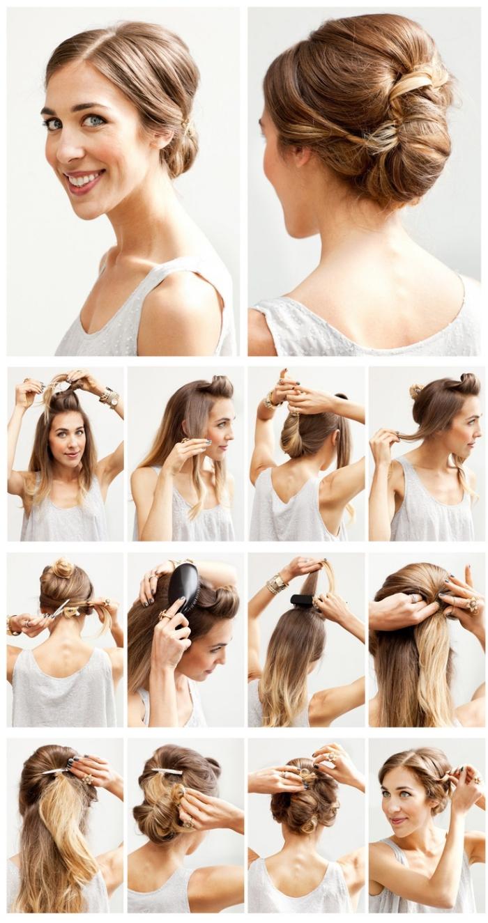frisuren mittellanges haar, hochzeitsgast frisurenideen, hochsteckfrisuren selber machen, schöne frisuren mit anleitung