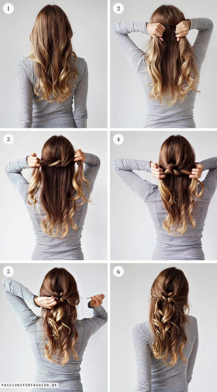 frisuren mittellanges haar, braune haare mit blonden spitzen, halboffene haarfrisuren