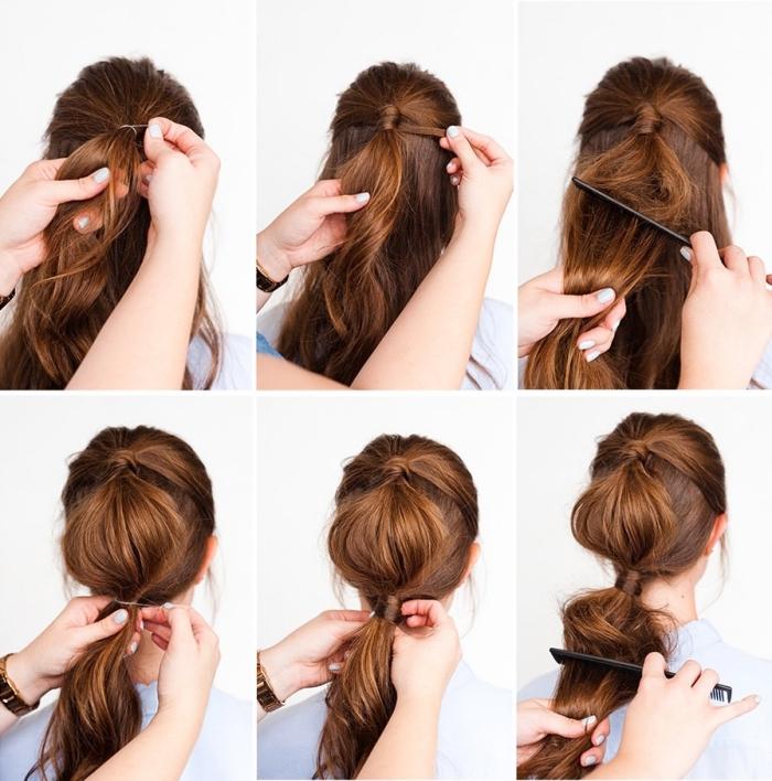frsiuren mittelanges haar, schnelle abendfrsiur selber machne, haare toupieren, haarfarbe karamellbraun, schöne haarfrisuren selber machen