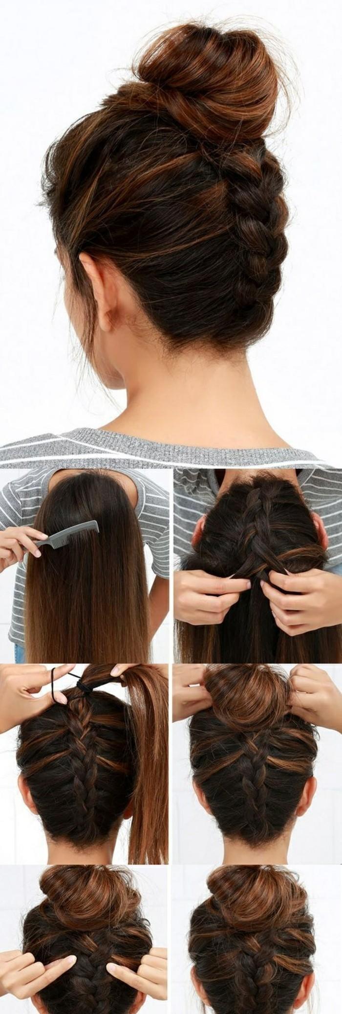 -frisuren-zum-selber-machen-dunkelbraune-lange-hochstecken-haare-zopf-binden-bluse-frau
