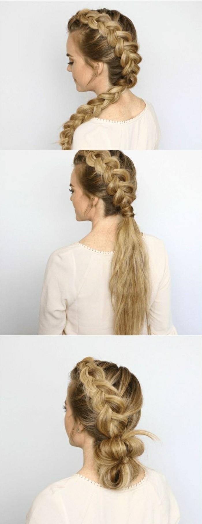 frisuren-zum-selber-machen-lange-blonde-haare-großer-zopf-diy-weiße-bluse-frau