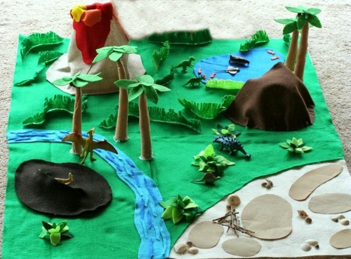 geschenk-für-opa-basteln-vulkan-insel-dinosaurier-fluß-pflanzen-see-bäume