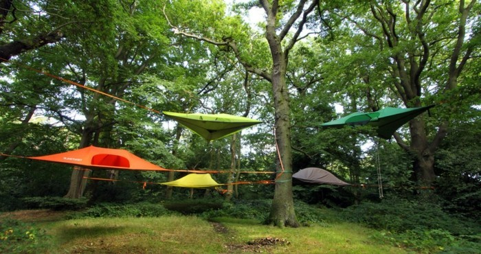 grüne-gelbe-orange-campingzelte-im-wald