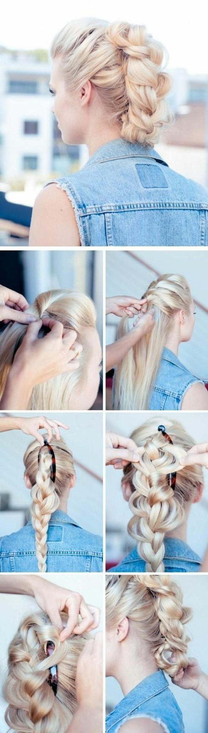 haare-hochstecken-lange-blonde-haare-frau-zopf-jacke-frisur-selber-machen-diy