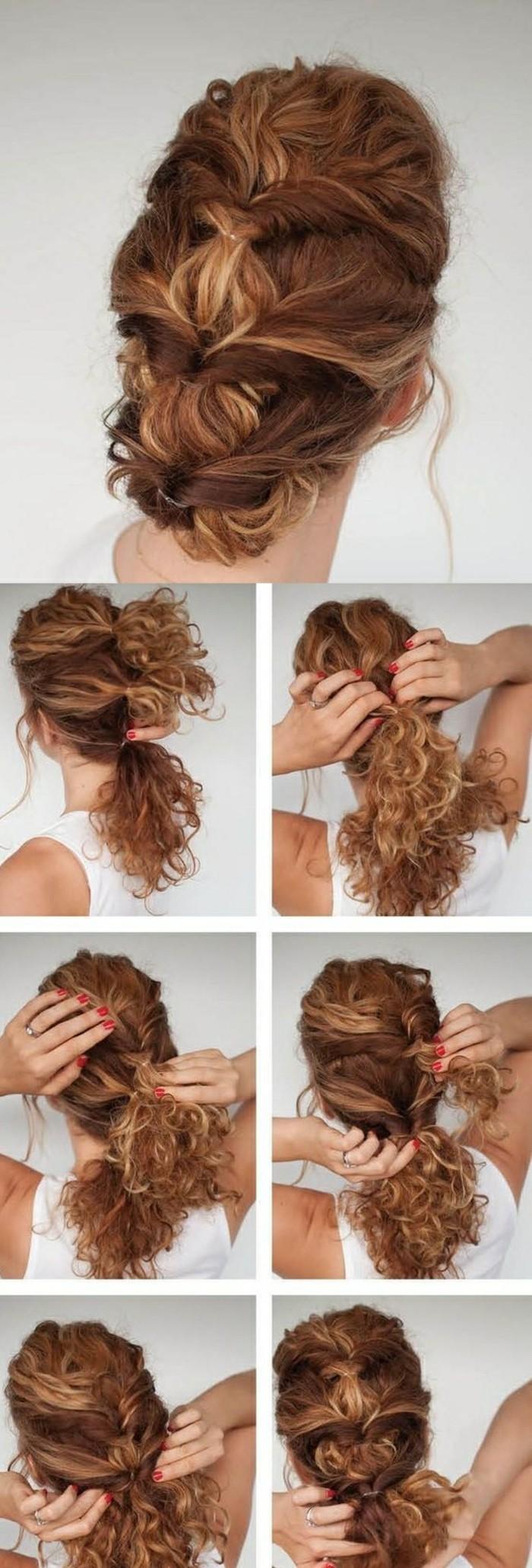 haare-hochstecken-rote-lockige-haare-weiße-bluse-anleitung-frisur