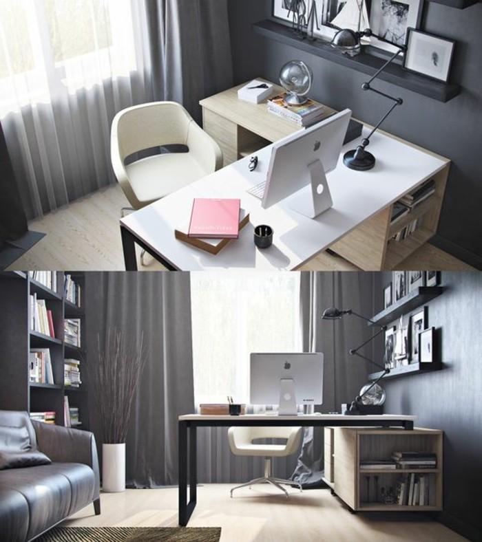 hembuero-flexibler-schreibtisch-weisser-stuhl-regale-sofa-buecher-globus-lampe