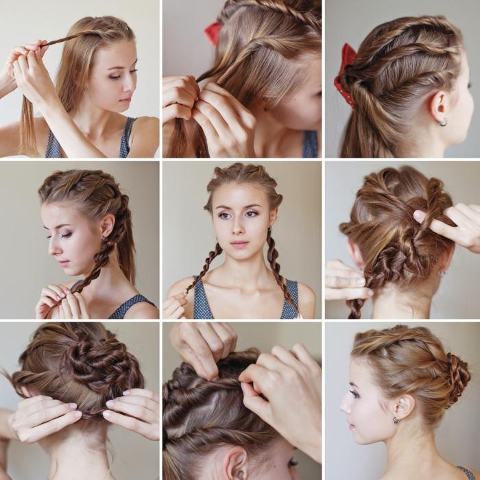 hochsteckfrsiuren lange haare, festliche frisur selber machen, strähnen wickeln