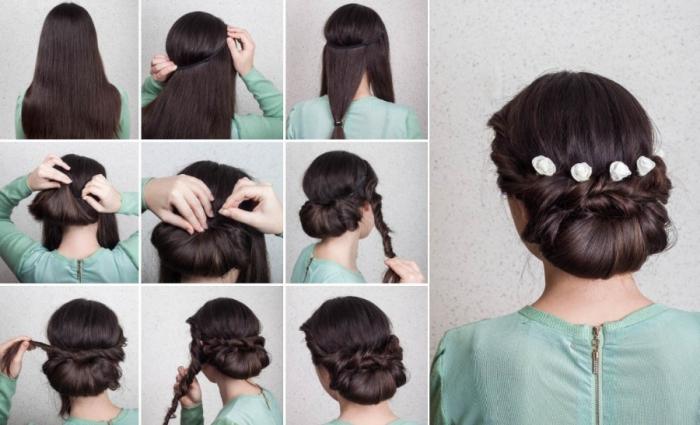 hochsteckfrisuren lange haare, hochzeitsfrisur selber machen, schritt für schritt, kleine weiße rosen