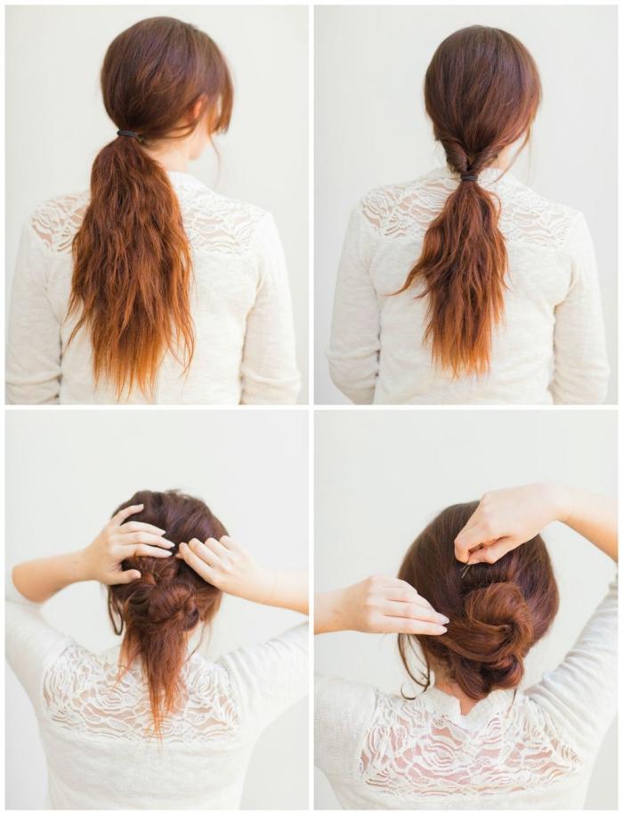 hochsteckfrisuren lange haare, pfardeschwanz binden und zu dutt wickeln, hochszeitsgast frisuren