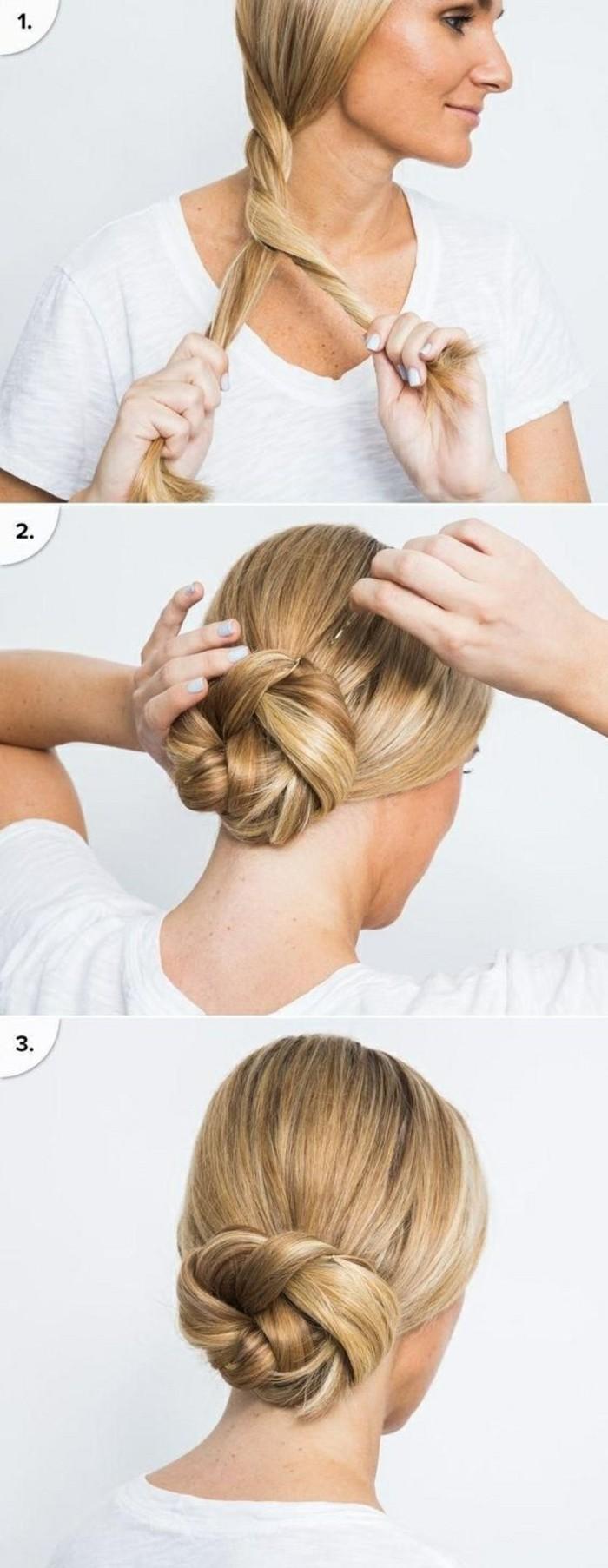 hochsteckfrisuren-selber-machen-frau-mit-blunden-mittellangen-haaren-frisur-hochstecken