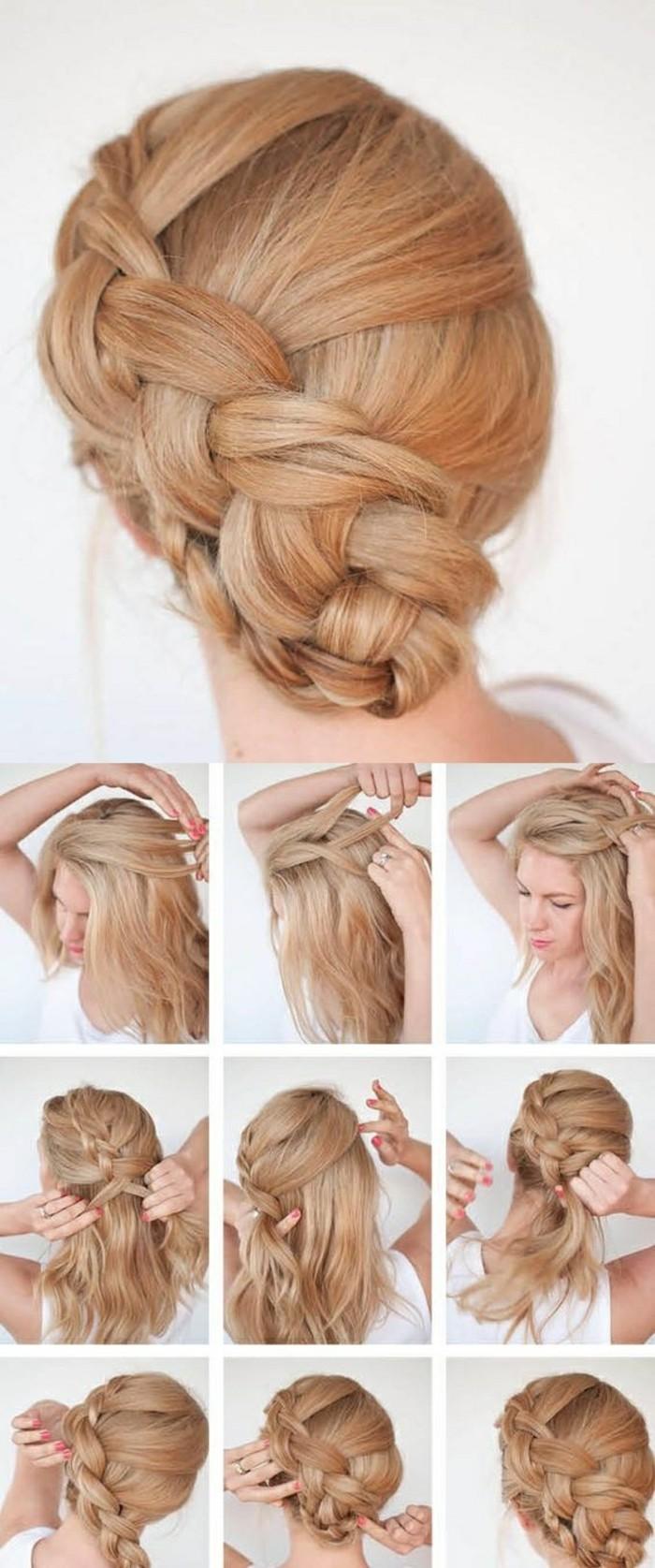 hochsteckfrisuren-selber-machen-lange-blonde-haare-großer-zopf-binden-weiße-bluse-frau-frisur