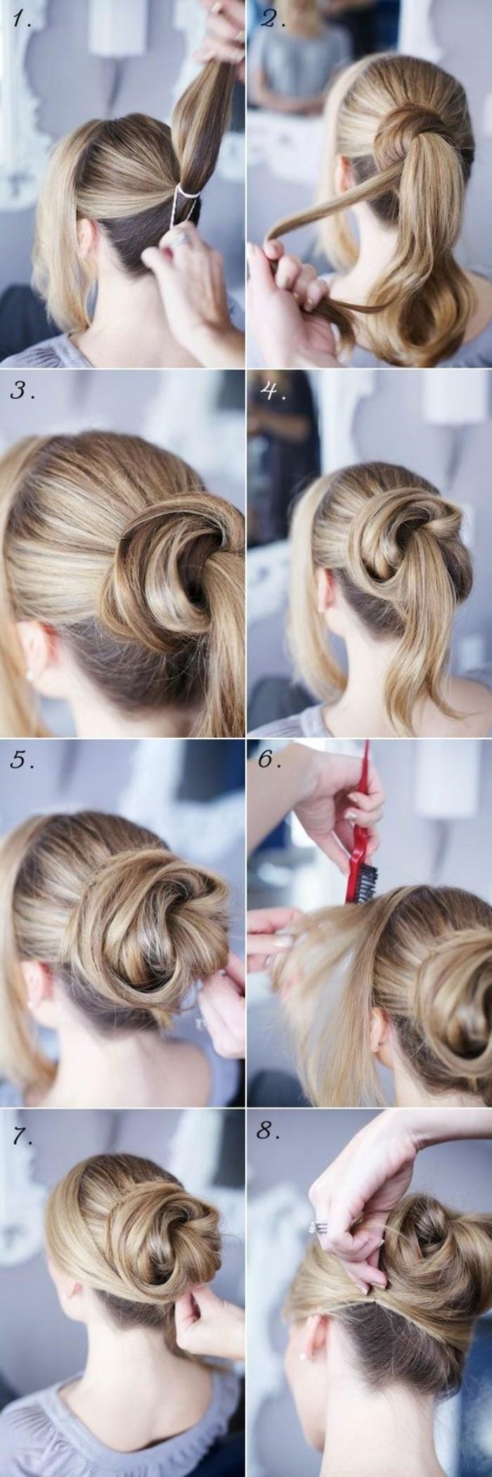 hochsteckfrisuren-selber-machen-lange-blonde-haare-hochstecken-diy-frisur-frau-kämmen