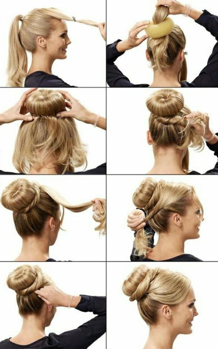 hochsteckfrisuren-zum-nachmachen-lange-blonde-haare-schwarze-bluse-hochsteck-selber-machen-diy