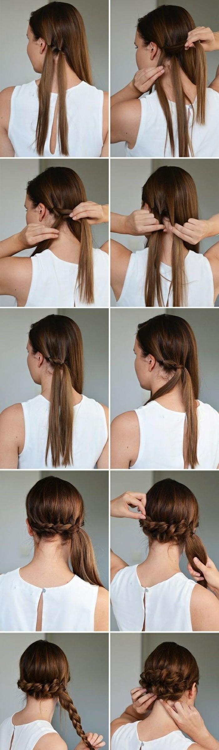 hochsteckfrisuren-zum-nachmachen-lange-glatte-braune-haare-weiße-bluse-diy-frisur-