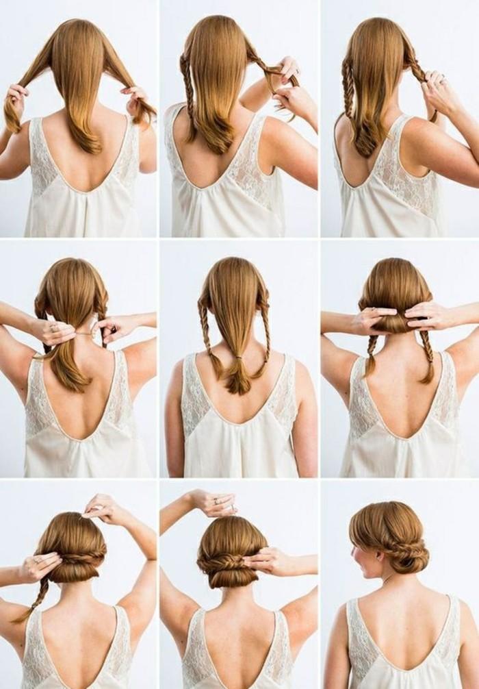 hochsteckfrisuren-zum-nachmachen-mitellange-rote-haare-zöpfe-binden-weiße-bluse-frau-hochstecken