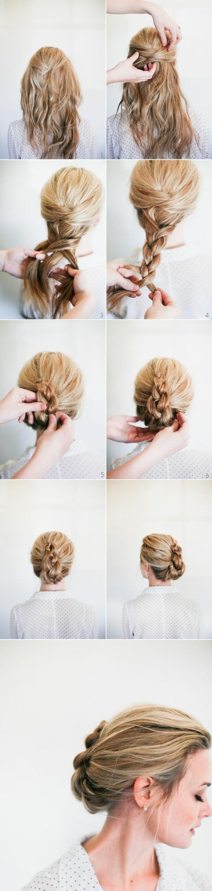 hochsteckfrisuren-zum-nachmachen-weiße-bluse-mittellange-blonde-haare-frau-diy-frisur-anleitung