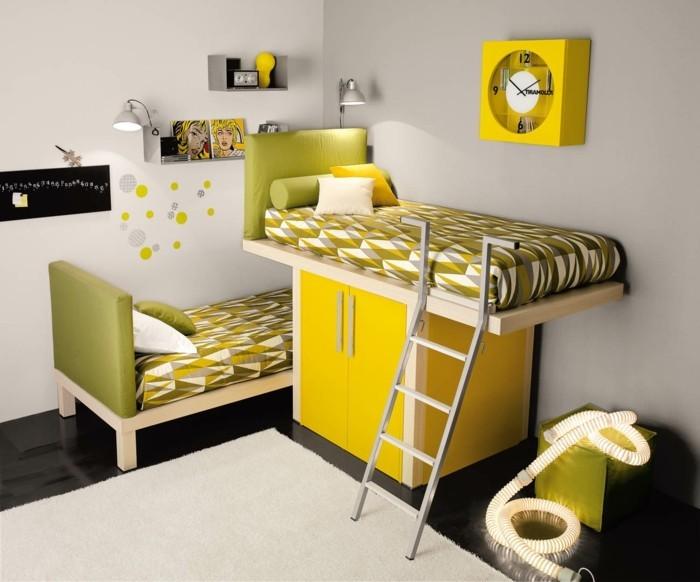 ideen-kinderzimmer-grüne-akzente-gelber-schrank-etagenbett-indirektes-licht-schwarzer-boden-weißer-teppich