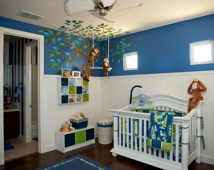 Kinderzimmer junge wandgestaltung grün blau  Frische Babyzimmer Ideen für gesunde und glückliche Babys ...