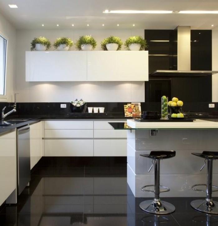 küche-dekorieren-grüne-pflanzen-schwarze-fliesen-aspirator-stühle-kücheninsel-waschbecken