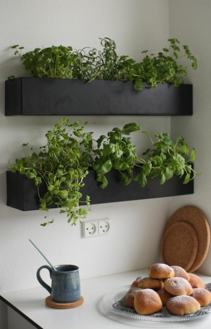 küchendekoration-schwarze-blumentöpfe-grüne-pflnazen-tasse-teller-keks-wanddeko