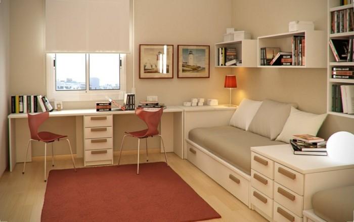 kinderzimmer-einrichten-einrichtung-beige-roter-teppich-laminatboden-schreibtisch-für-zwei