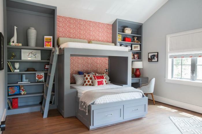 kinderzimmer-einrichten-geschwister-graue-einrichtung-dunkler-boden-doppelbett-für-kind