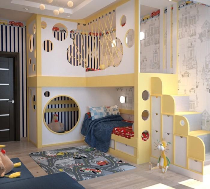 kinderzimmer-einrichten-spielecke-über-bett-teppich-laminatboden-blaue-schlafdecke-blaue-couch