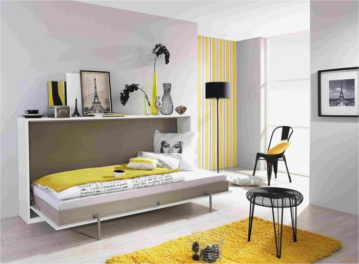 kinderzimmer für mädchen einrichten ideen grau gelb wände wanddeko fotos multifunktionell bett stühle