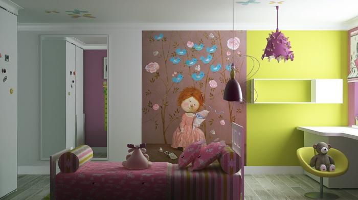 kinderzimmer für mädchen wandgestaltung kinderzimmer fototapeten mädchen blumen vogeln rosagrau gelb weiß