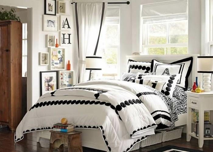 kinderzimmer-für-mädchen-weiß-gestaltet-dunkler-parkettboden-musterteppich-weiße-möbel