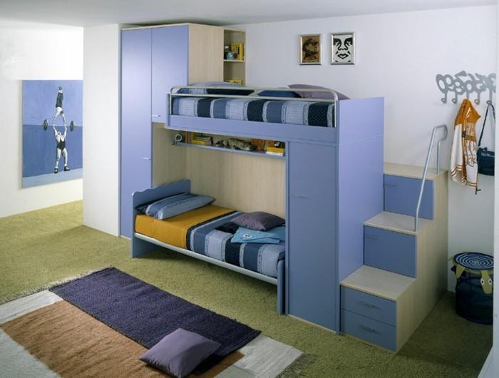 kinderzimmer-farben-hellblau-dunkelblau-braun-hellgrün-zweistöckiges-bett-weiße-wände