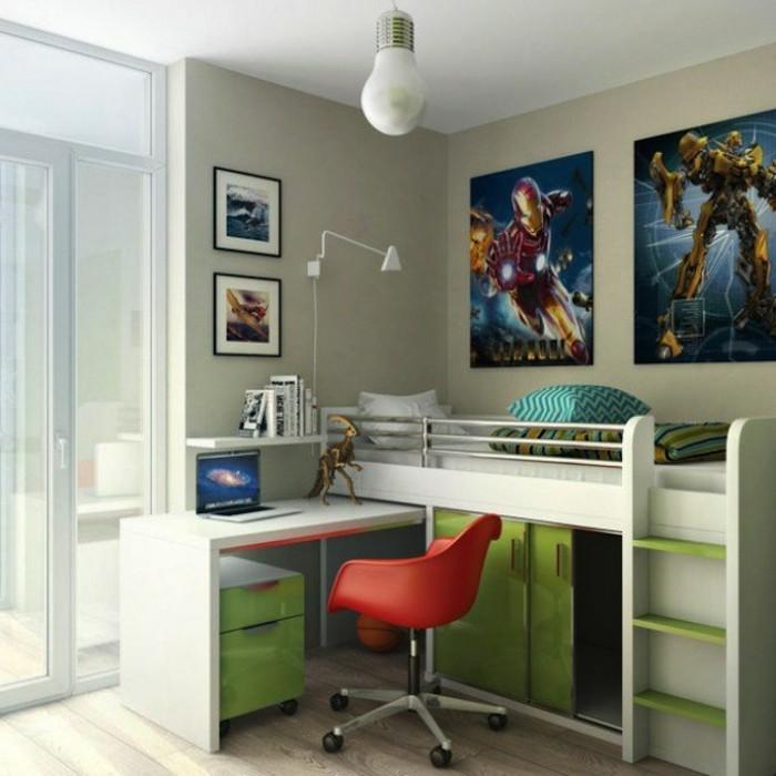 kinderzimmer-gestalten-grün-grau-bett-über-schreibtisch-schrank-schiebetüren-unter-bett-roter-stuhl-terrasse