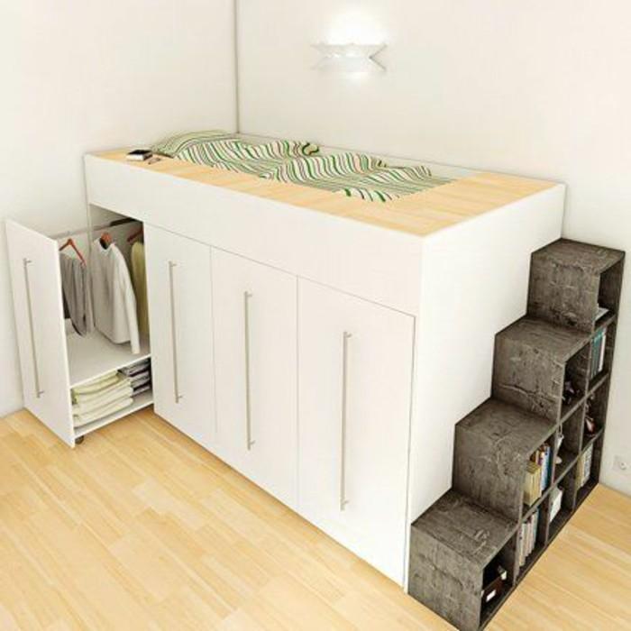 kinderzimmer-gestalten-hochbett-kleiderschrank-weiß-laminatboden-treppen-regal