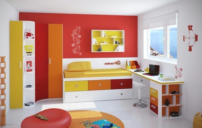 kinderzimmer-gestalten-rote-wand-weiße-wand-weißer-boden-oranger-rundteppich-roter-hocker-orange-tür